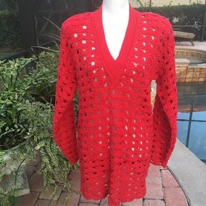 Claude Z Pullover Cotton VNeck Crochet Red Sweater